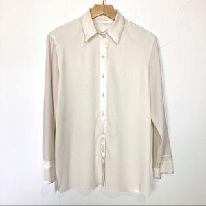 Vintage white cream blouse satin crepe button up